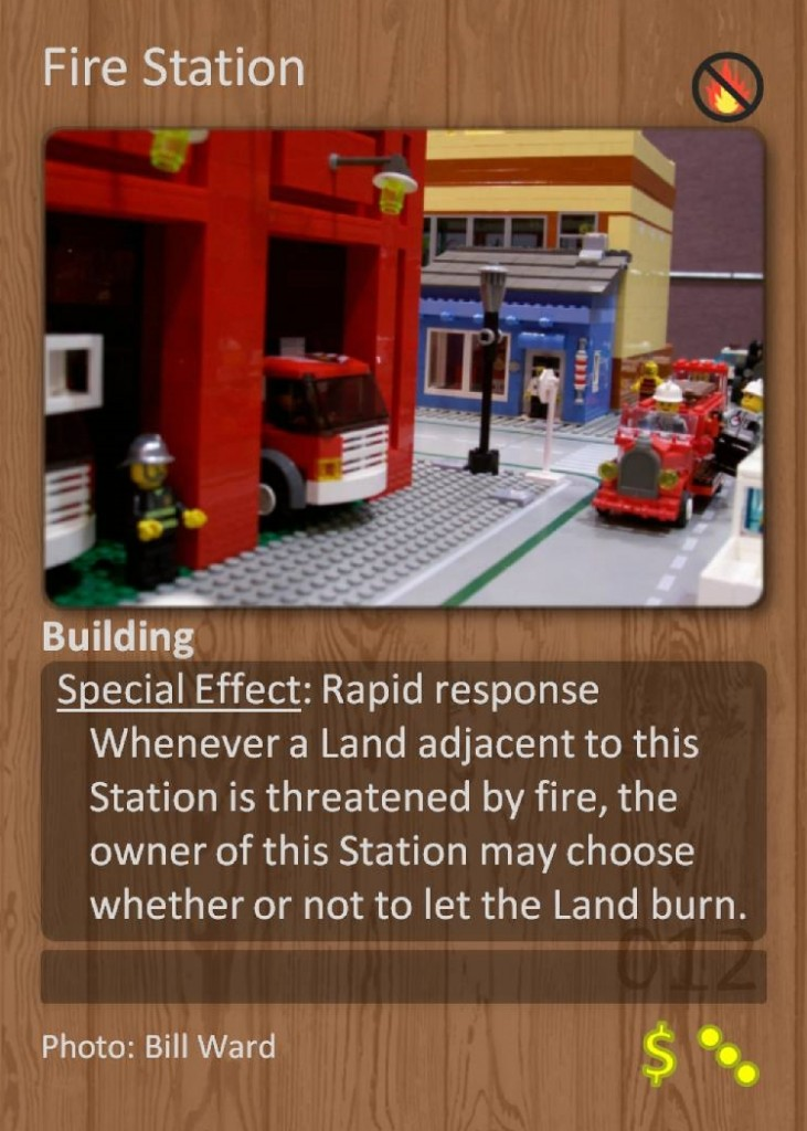 The Fire Station card, a building-type land card from Fire and Flora v12.